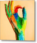 Painted Hand With Ok Sign Metal Print