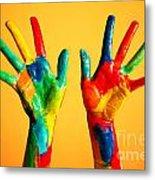 Painted Hands Metal Print