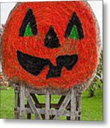 Painted Hay Bale Metal Print