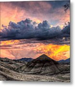 Painted Hills In Oregon Panorama At Sunset Metal Print