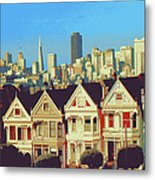 Alamo Square San Francisco - Digital Art Metal Print