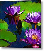 Painted Purple Water Lilies Metal Print
