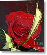 Painted Rose Metal Print by M Montoya Alicea