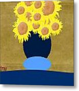 Painted Sunflowers Metal Print