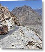 Painted Truck On The Karakorum Highway In Pakistan Metal Print by Robert Preston