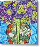 Painted Vase With Hydrangeas Metal Print by Deborah Glasgow