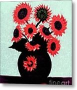 Painterly Red Sunflowers With Purple Metal Print