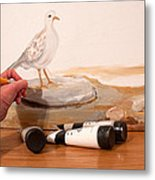 Painting A Dove Metal Print