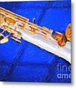 Painting Of A Soprano Saxophone And Butterfly 3352.02 Metal Print