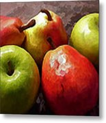 Painting Of Apples And Pears Metal Print