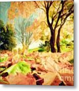Painting Of Autumn Fall Landscape In Park Metal Print