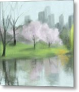 Painting of Central Park in Spring Metal Print