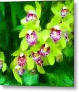 Painting Of Green Orchids Metal Print