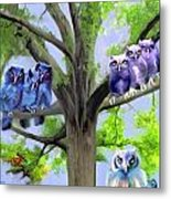 Painting Of Owls And Birds Nest In Tree Metal Print