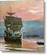 Painting Of The Ship The Mayflower 1620 Metal Print