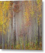 Painting Of Trees In A Forest In Autumn Metal Print