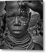 Painting The Face Of A Karo Tribe Girl (omo Valley-ethiopia) Metal Print