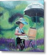 Painting The Lavender Fields Metal Print
