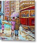 Paintings Of Fifties Montreal-downtown Streetcar-vintage Montreal Scene Metal Print