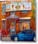 Paintings Of Montreal Fairmount Bagel Shop Metal Print by Carole Spandau