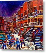 Paintings Of Montreal Hockey On Du Bullion Street Metal Print