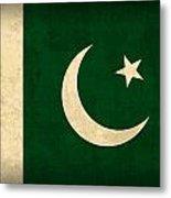 Pakistan Flag Vintage Distressed Finish Metal Print by Design Turnpike
