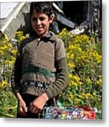 Pakistani Boy In Front Of Hotel Ruins In Swat Valley Metal Print