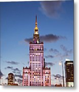 Palace Of Culture And Science At Dusk In Warsaw Metal Print