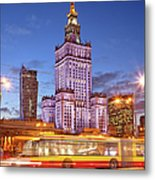 Palace Of Culture And Science In Warsaw At Dusk Metal Print by Artur Bogacki