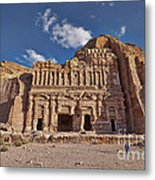 Palace Tomb In Nabataean Ancient Town Petra Metal Print