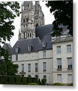 Palais In Tours With Cathedral Steeple Metal Print