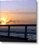 Palanga Sea Bridge At Sunset. Lithuania Metal Print