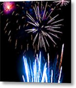 Pale Blue And Red Fireworks Metal Print