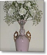 Pale Vase White Flowers Metal Print