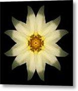 Pale Yellow Daffodil Flower Mandala Metal Print by David J Bookbinder