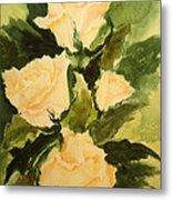 Pale Yellow Roses Metal Print