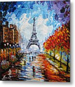 palette knife painting Paris Eiffel tower Metal Print