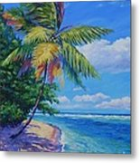 Palm At The Water's Edge Metal Print