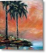 Palm Refection Sunset Metal Print