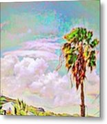 Palm Tree Against Pastel Sky - Square Metal Print