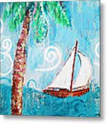 Palm Tree And Sailboat By Jan Marvin Metal Print