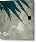 Palm Tree Shadow On Wall With Holes Metal Print