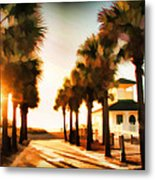 Palm Tree Sunrise Metal Print
