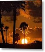 Palm Tree Sunrise In Gulf Shores Metal Print