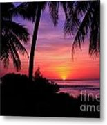 Palm Tree Sunset In Paradise Metal Print
