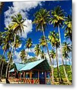 Palm Trees And Colorful Building Metal Print