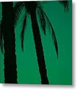 Palm Trees And Emerald Sky. Metal Print