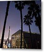 Palm Trees And Hp Pavilion San Jose At Night Metal Print
