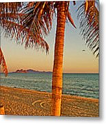 Palm Trees By A Restaurant On The Beach In Bahia Kino-sonora-mexico Metal Print