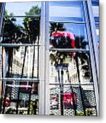 Palm Trees In Reflection Metal Print